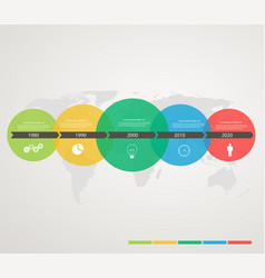 timeline with colored circles stepping structure vector image vector image