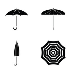 black umbrella icon set vector image