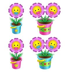 cartoon flowers vector image vector image