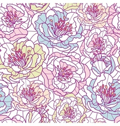 Colorful line art flowers seamless pattern vector image