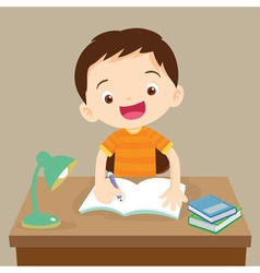 cute boy working on homework vector image vector image
