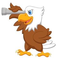 Eagle cartoon watching vector image vector image