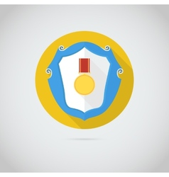 Flat icon with gold medal vector image vector image