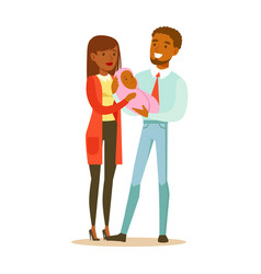 happy young mother and father holding newborn vector image vector image