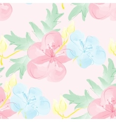 Seamless watercolor background with flowers vector image vector image