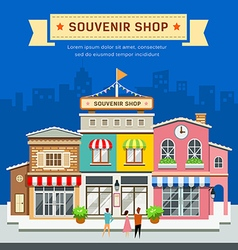 Souvenir shop on blue background vector image