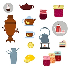 tea ceremony icons set vector image vector image