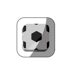 sticker color square 3d button with soccer shape vector image