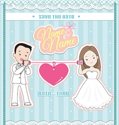 wedding invitation card cute couple talking phone vector image vector image
