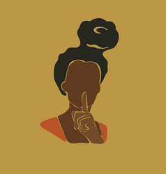 Abstract african woman portrait afro black skin vector