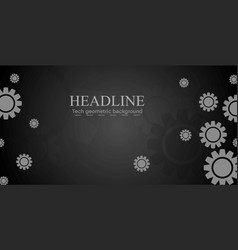 Abstract black tech banner design with gears vector