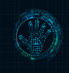 Abstract hand with scan electronic technology vector