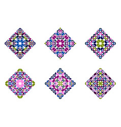 Abstract isolated ornate petal diagonal square vector