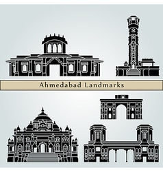 Ahmedabad landmarks and monuments vector image
