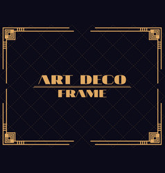 Art deco frame vintage linear border design vector