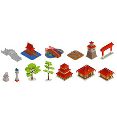 asian architecture isometric set vector image