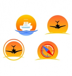aviation and travel symbols vector image