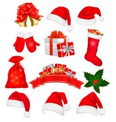 big set of red santa hats and clothing vector image vector image