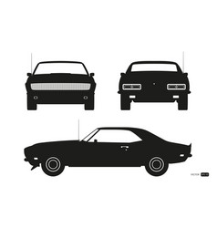 black silhouette of retro car american automobile vector image