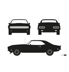 black silhouette retro car american automobile vector image