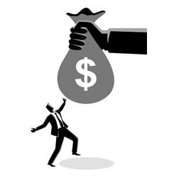 Businessman receiving a huge money bag vector