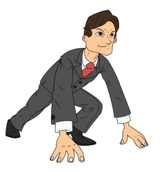 Businessman starting the race to success vector