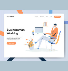 businessman working on desk concept modern flat vector image