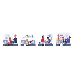 cartoon businessmen office workers with laptop in vector image