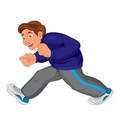 Cartoon man in gray running pants and blue top vector image