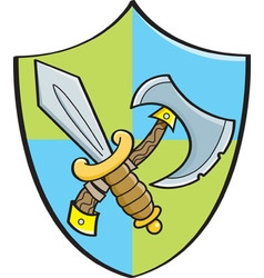 Cartoon sword and axe on a shield vector image
