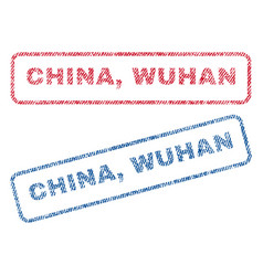 China wuhan textile stamps vector
