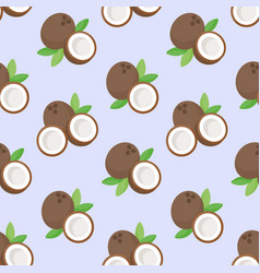 Coconut flat seamless pattern vector