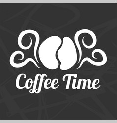 coffee time logotype design isolated on black vector image