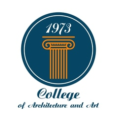 College architecture and art emblem vector