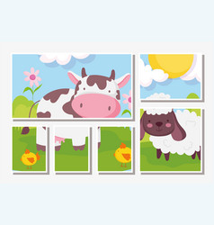 cow and sheep flowers meadow farm animals vector image
