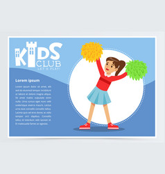 Creative blue poster for kids club with happy vector
