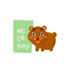 Cute bear with a sign for text vector image