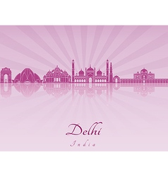 Delhi skyline in purple radiant orchid vector