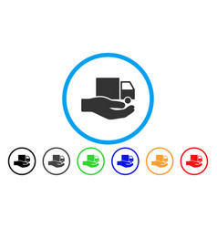 delivery service hand rounded icon vector image