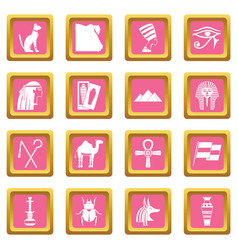 egypt travel items icons pink vector image