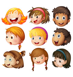 Faces of boys and girls on white background vector