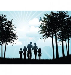 family walking silhouette vector image