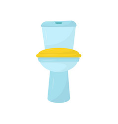 flat icon of blue ceramic toilet with vector image