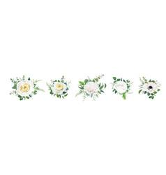floral bouquet set editable design elements flower vector image