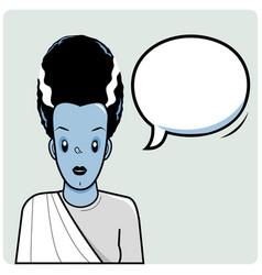 Frankenstein bride and speech bubble vector