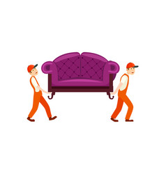 Furniture delivery service icon with workers vector