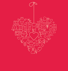 Garland heart template sketch poster vector
