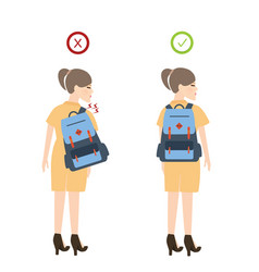 Girl backpack correct posture position good for vector