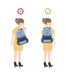 Girl backpack correct posture position good vector