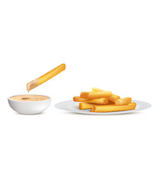 golden french fries fried potato chips vector image